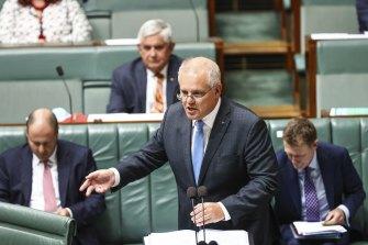 Prime Minister Scott Morrison during question time.
