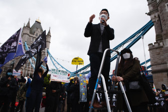 Exiled Hong Kong pro-democracy activist Nathan Law addresses a rally near Tower Bridge, London, in October.