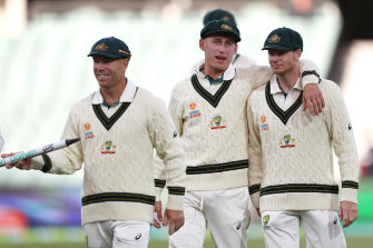 Steve Smith, right, has uncharacteristically been part of the supporting cast, not centre stage with David Warner, left, and Marnus Labuschagne.