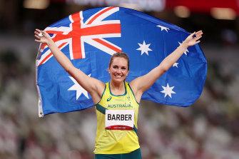Kelsey-Lee Barber celebrates her bronze medal in the javelin.