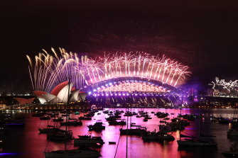 The New Year's Eve Fireworks in Sydney Harbour as seen from Mrs Macquarie's Point.