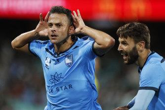 Sydney FC star Bobo celebrates after scoring against Western Sydney at the SCG on Sunday.