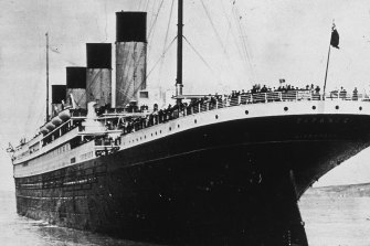 The Titanic leaving Queenstown (now Cobh) in Ireland in 1912.