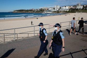 Police patrol Bondi Beach on July 20.