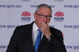 NSW Health Minister Brad Hazzard at Tuesday's coronavirus update.