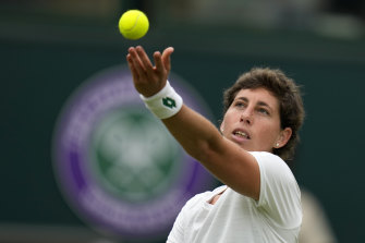 Spain's Carla Suarez Navarro won the second set tiebreaker 7-1.