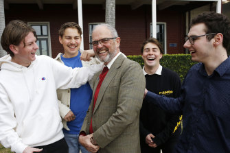 Alan Parsons with former Newcastle Grammar students.