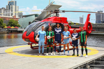 Ready to launch: (L-R) A-League and W-League stars Scott Jamieson (City), Alessandro Diamanti (Western United), Rudy Gestede (Victory), Jenna McCormick (City),  Lisa De Vanna (Victory) and Dylan Pierias (Western United).