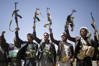 Shiite Houthi soliders in Sanaa, Yemen, said to be backed by Iran, are at war with Arab-backed forces.