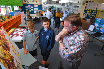 Principal of Macclesfield primary school John Chriswell with International Baccalaureate grade 6 students.