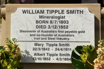 The new headstone of William Tipple Smith at his grave in Rookwood Cemetery.