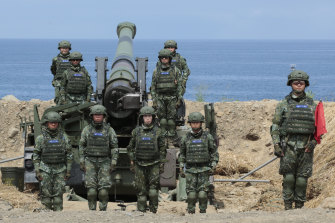Taiwan women's artillery during an anti-invasion drill in 2019.