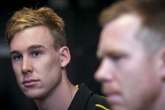 Tom Lynch has assumed the primary role in Richmond's forward line from Jack Riewoldt this season.