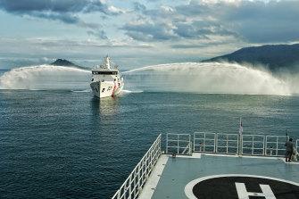 An Indonesian Bakamla patrol boat shows off its water cannon near the Natuna Islands.