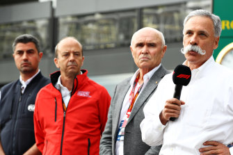 Chase Carey (right), the CEO and executive chairman of the Formula One Group.