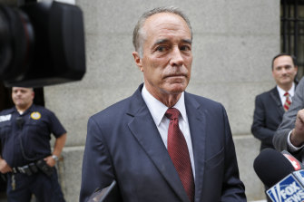 US congressman Chris Collins speaks to reporters as he leaves the courthouse after a pre-trial hearing in his insider-trading case in New York in September.