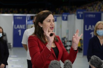 Premier Annastacia Palaszczukat the opening of a new vaccination hub at the Brisbane Entertainment Centre at Boondall this week.