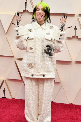 Eilish on the red carpet at this year's Academy Awards. Her appeal has relied on combining her taste for the radical with her strong sense of the classical.