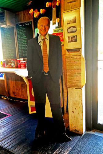 A cardboard cut-out of Joe Biden at a sandwich shop in his childhood home town Scranton.