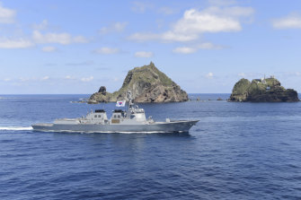 South Korean Navy's Aegis destroyer, King Sejong the Great, sails during the drill near the islets.