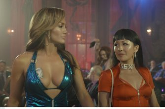 The bond between strippers Ramona (Jennifer Lopez) and Destiny (Constance Wu) is the heart of Hustlers.