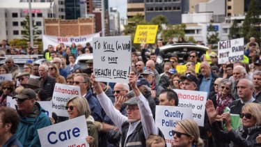 Anti-euthanasia protesters take their message to politicians at Parliament House on Wednesday.