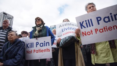 Anti-euthanasia protesters take their message to politicians at Parliament House earlier this month.