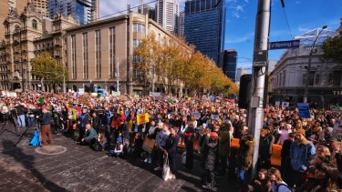 Part of the protesting crowd in Melbourne's CBD.
