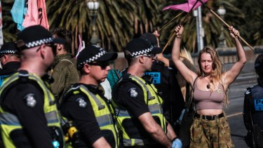 The protest was loud, colourful and carefully non-violent.