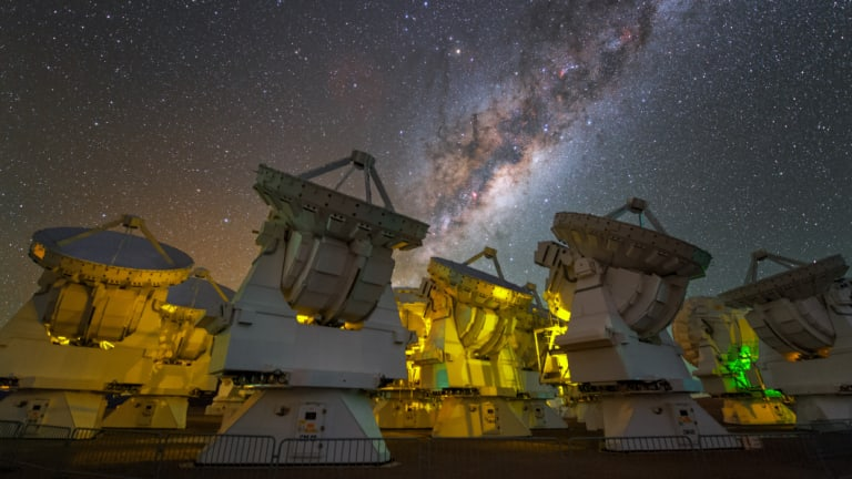 The Milky Way above the antennas at the ALMA Observatory.