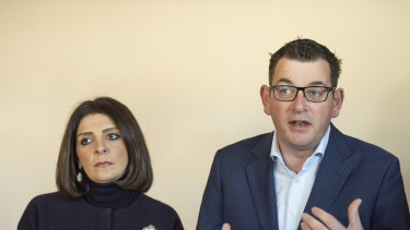 Gaming minister Marlene Kairouz and Premier Daniel Andrews last year.