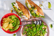 Julia Busuttil Nishimura recipes:springtabbouleh with peas, broad beans and asparagus; edamame and avocado dip with tortilla chips; and baguettes with barbecue chicken, herb mayonnaise and grilled corn.