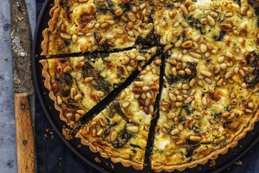 Helen Goh's spinach tart with pine nuts, herbs and three cheeses.