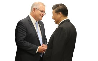 Time for a reset in the relationship ... Scott Morrison and Xi Jinping during the G20 in Osaka in 2019.