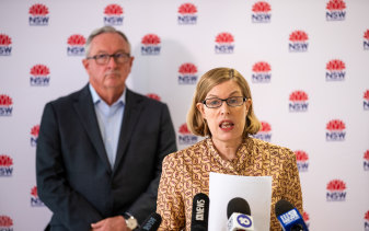 NSW Chief Health Officer Dr Kerry Chant and NSW Health Minister Brad Hazzard on Sunday.