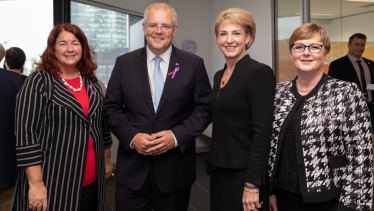 Minister for the Environment Melissa Price, Prime Minister Scott Morrison, Australian Small business minister Michaelia Cash and Minister for Defence Industry Linda Reynolds at an International Women's Day breakfast.