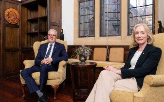 Mark Scott, new vice-chancellor of Sydney University, with chancellor Belinda Hutchinson.