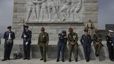 Members of Australia and New Zealand armed forces attend a service on the Gallipoli peninsula on Tuesday.