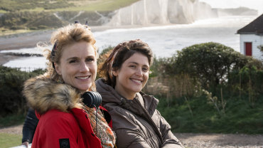 Jessica Swale and Gemma Arterton on the set of Summerland.