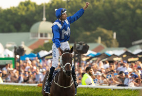 A couple of greats: Hugh Bowman and Winx celebrate another victory at Randwick where she will have a grandstand named in her honour.