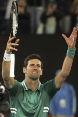 Love and respect: Novak Djokovic won over an initially lukewarm crowd on the first night of the Australian Open.