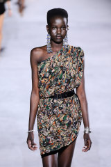 Adut Akech Bior walks the Saint Laurent runway in Paris in September last year.