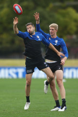 Ruck duo Stefan Martin (left) and Tim English at Bulldogs training on Wednesday.