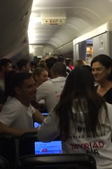 The entrepreneurs networking on board Myriad Air.