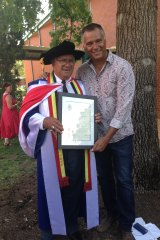 Stan Grant with his father, Stan snr, who received an honorary Doctorate of Letters from Charles Sturt University in 2013.