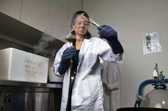 Manager of Conservation Science, Dr Justine O'Brien, in the Cryo lab at Taronga Zoo.