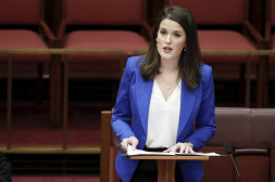 Liberal senator Claire Chandler delivers her first speech in the Senate at Parliament House in Canberra, 2019.
