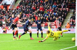 John Lundstram scores for Sheffield United against Bournemouth at Bramall Lane on Sunday.
