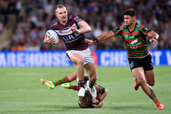Putting the foot down against South Sydney on Friday night.