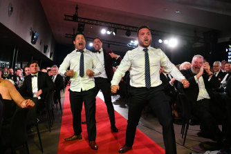 Issac Luke was part of the impromptu haka by Kiwi players at the Dally Ms in 2018.